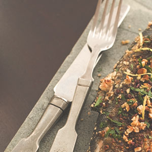 Nut Crusted Fish and Salad Greens