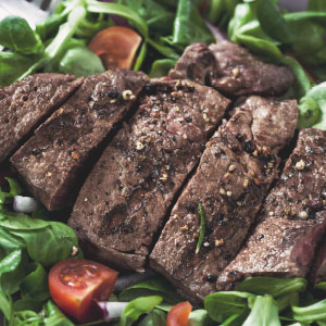 Roasted Red Onion and Rump Steak Salad